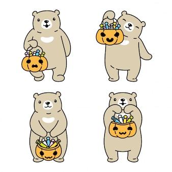 Urso polar cartoon cesta de doces de halloween