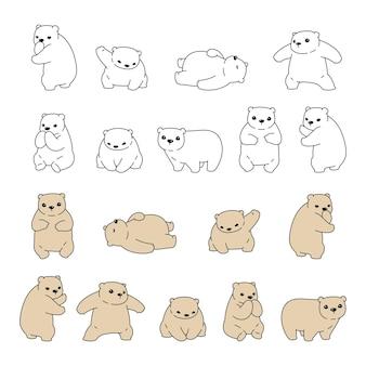 Urso polar cartoon personagem doodle