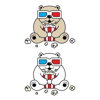 Urso polar cartoon personagem filme 3d óculos pipoca