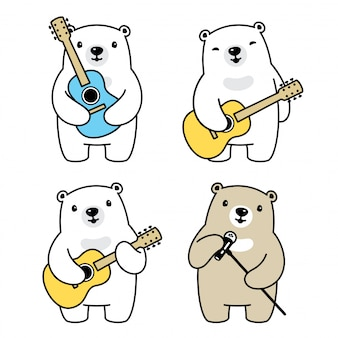 Urso polar cartoon personagem guitarra músico cantor