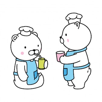Urso polar chef bebendo