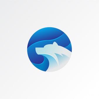 Urso polar colorido gradiente logotipo icon ilustração