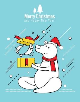 Urso polar com caixa de presente de natal. natal e feliz ano novo conceito. elementos de design de linha fina e plana. ilustração vetorial