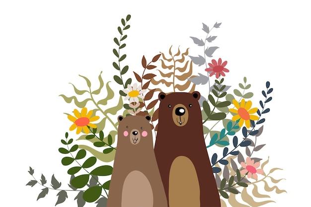 Urso polar com ilustração de doodle de flor