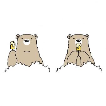Urso polar com sorvete