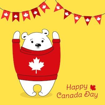 Urso polar com suéter feliz dia do canadá, cartão postal de saudação de bandeira de guirlanda de desenho animado