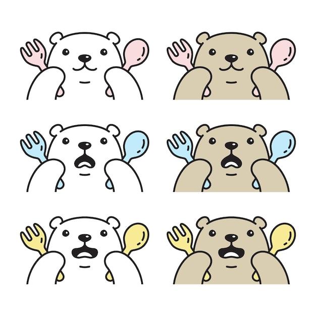 Urso polar comendo ícone personagem de desenho animado