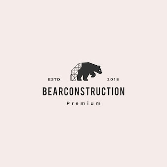 Urso polar construção logotipo hipster retro vintage