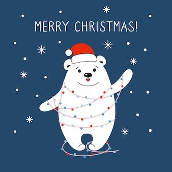 Urso polar de desenho animado com chapéu de papai noel vermelho