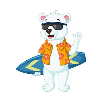 Urso polar de desenho animado com prancha de surf