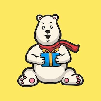 Urso polar de desenho animado segurando uma caixa de presente com o logotipo do mascote bonito