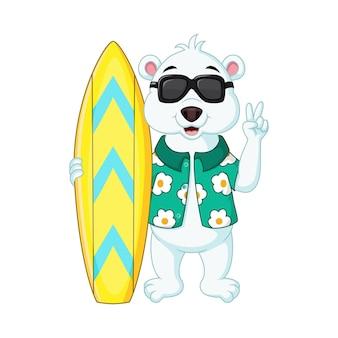 Urso polar de desenho animado segurando uma prancha de surfe