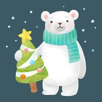 Urso polar desenhado à mão em aquarela com árvore de natal