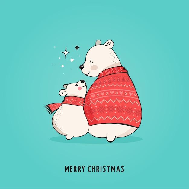 Urso polar desenhado de mão, conjunto de urso bonito, ursos mãe e bebê, dois ursos.