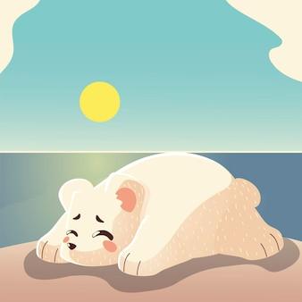 Urso polar dormindo no gelo.