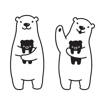 Urso polar dos desenhos animados de pelúcia vector