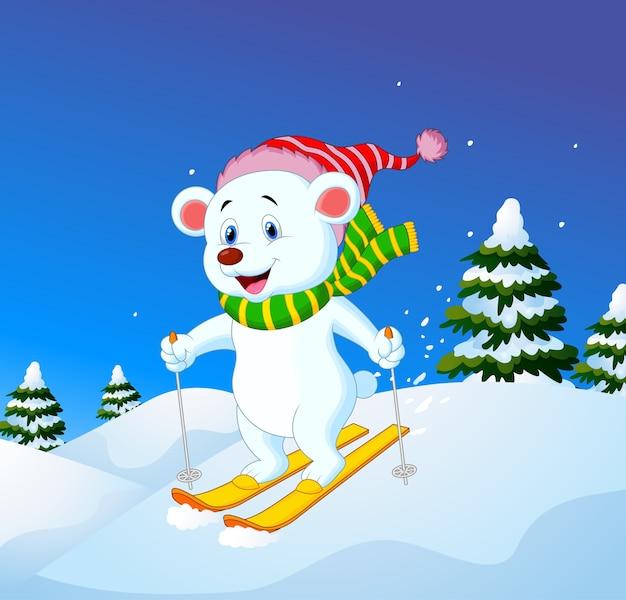 Urso polar dos desenhos animados esqui descendo uma encosta de montanha