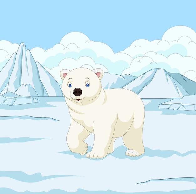 Urso polar dos desenhos animados no campo de neve
