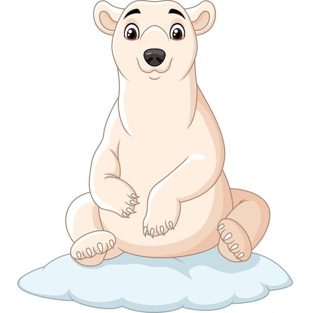 Urso polar dos desenhos animados, sentado no bloco de gelo