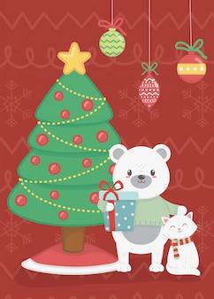 Urso polar e gato com ilustração de presente de árvore