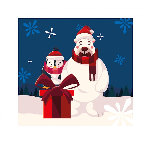 Urso polar e pinguim com caixa de presente na paisagem de inverno