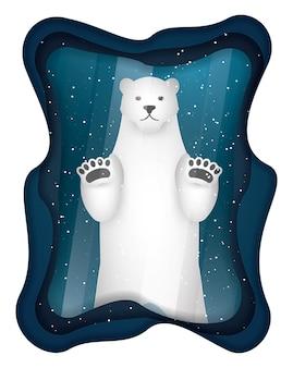 Urso polar em moldura de vidro, papel arte e estilo ofício.