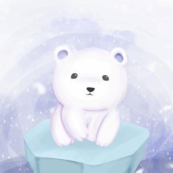 Urso polar em pé acima do gelo