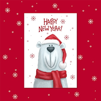 Urso polar em um cartão de cachecol