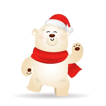 Urso polar feliz comemorando o natal