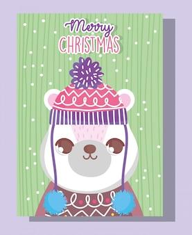 Urso polar, feliz natal feliz