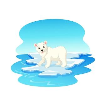 Urso polar flutuando no gelo