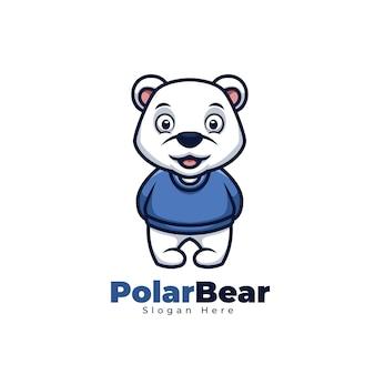 Urso polar fofo com logotipo do mascote da mascote da camisola