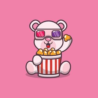 Urso polar fofo comendo pipoca e assistindo filme em 3d