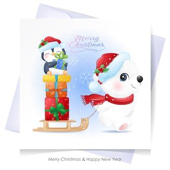 Urso polar fofo e pinguim para o natal com cartão em aquarela