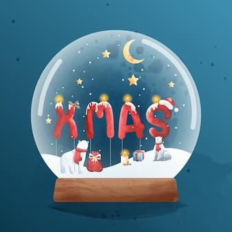 Urso polar fofo na véspera de natal com tempo de bênção na caixa de música