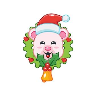 Urso polar fofo no dia de natal ilustração fofa dos desenhos animados de natal
