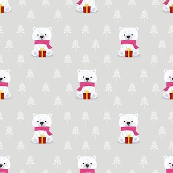 Urso polar fofo no padrão sem emenda do tema inverno de natal