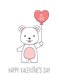 Urso polar fofo segurando uma carta de amor e um balão para o dia dos namorados