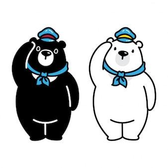 Urso polar ilustração em vetor dos desenhos animados
