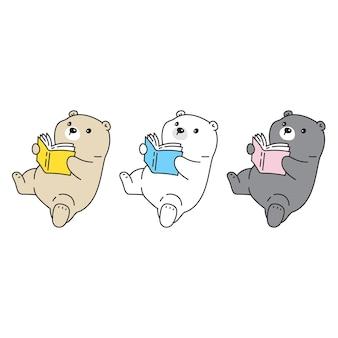Urso polar lendo livro de desenho animado