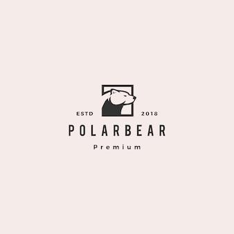 Urso polar logotipo hipster retro vintage