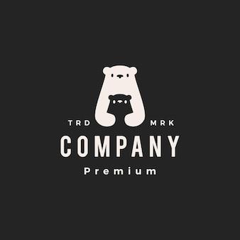 Urso polar, mãe, filho, pai, hipster, logotipo vintage, ícone, vetorial, ilustração