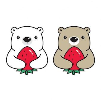 Urso polar morango dos desenhos animados