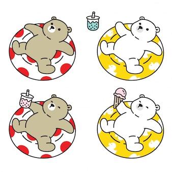 Urso polar natação anel dos desenhos animados