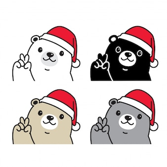 Urso polar natal cartoon chapéu de papai noel
