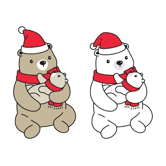 Urso polar natal papai noel desenhos animados