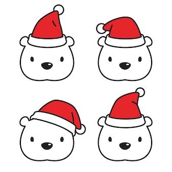 Urso polar natal personagem de desenho animado de chapéu de papai noel