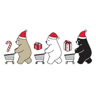 Urso polar natal santa claus carrinho de compras