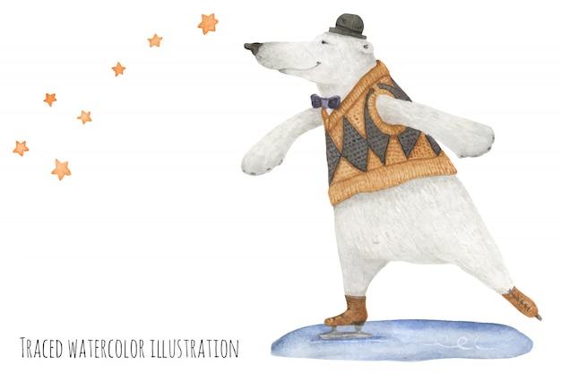 Urso polar patinar sob as estrelas