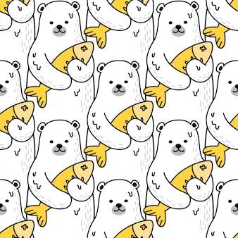 Urso polar peixe dos desenhos animados